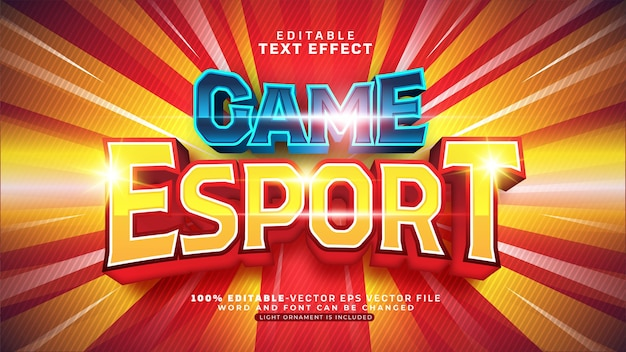 Edytowalny efekt tekstowy game esport team