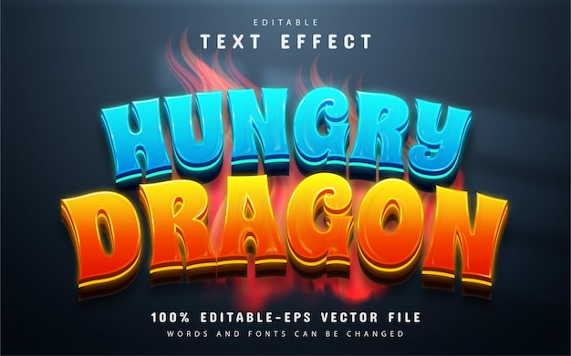 Edytowalny efekt tekstowy głodnego smoka