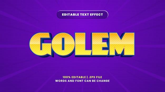 Edytowalny efekt tekstowy golem w nowoczesnym stylu 3d