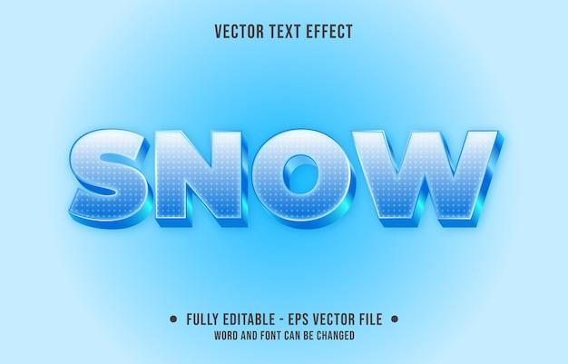 Edytowalny efekt tekstowy gradient niebieski lód śnieg styl