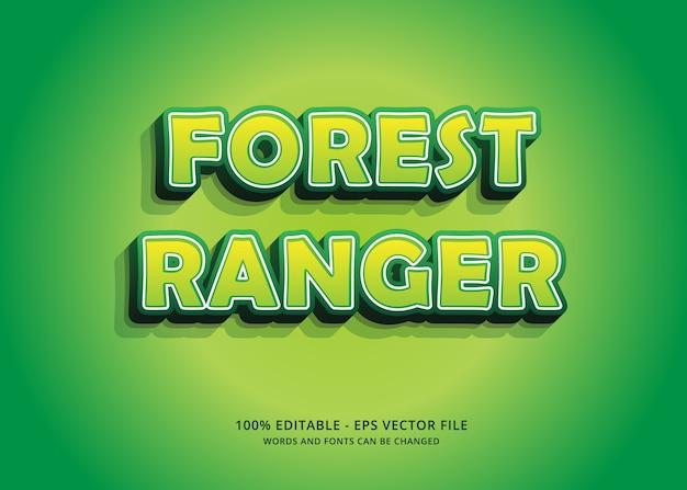 Edytowalny efekt tekstowy green forest ranger