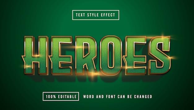 Edytowalny efekt tekstowy green heroes