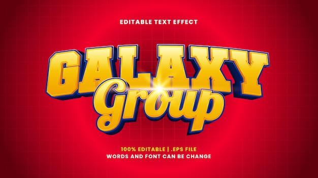 Edytowalny efekt tekstowy grupy galaxy w nowoczesnym stylu 3d