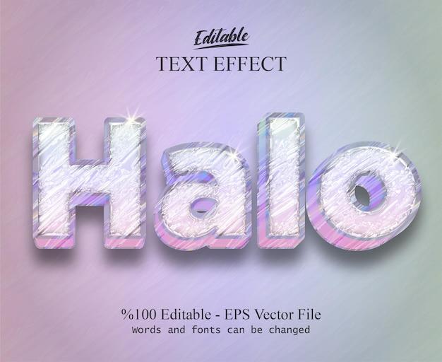 Edytowalny efekt tekstowy halo wektor