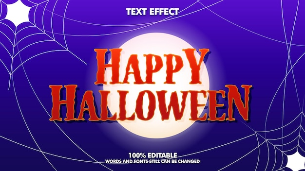 Edytowalny efekt tekstowy happy halloween