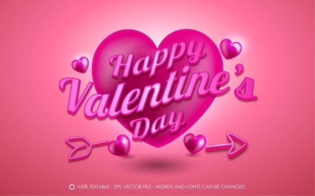 Edytowalny efekt tekstowy, happy valentines day