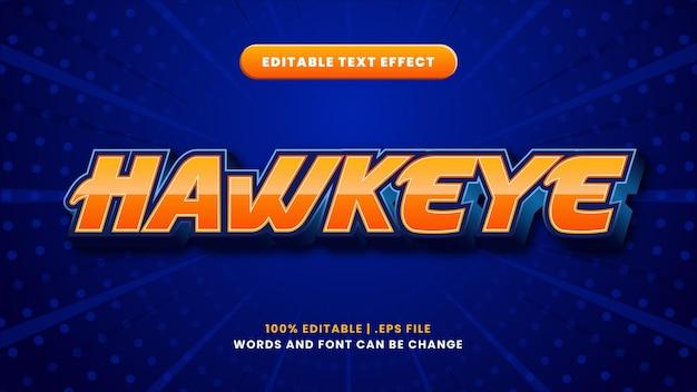 Edytowalny efekt tekstowy hawkeye w nowoczesnym stylu 3d