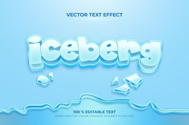Edytowalny efekt tekstowy iceberk 3d ze stylem pęknięcia lodu