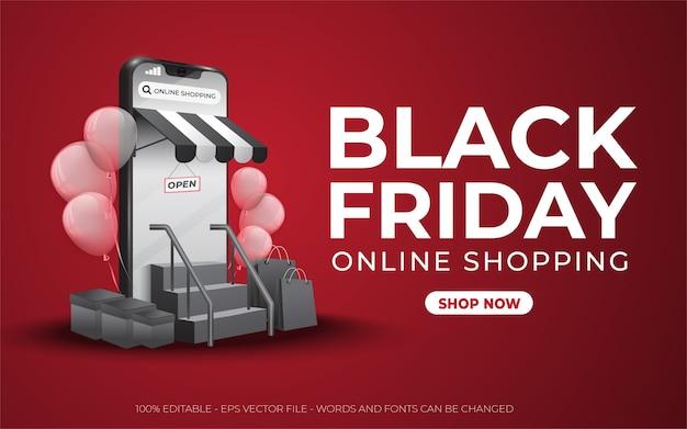Edytowalny efekt tekstowy, ilustracje w czerwonym stylu black friday online shopping