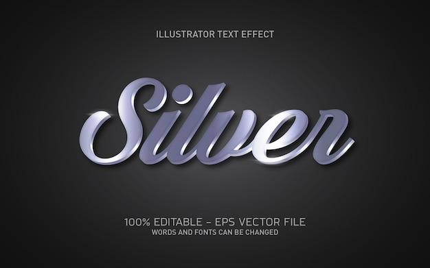 Edytowalny efekt tekstowy, ilustracje w srebrnym stylu