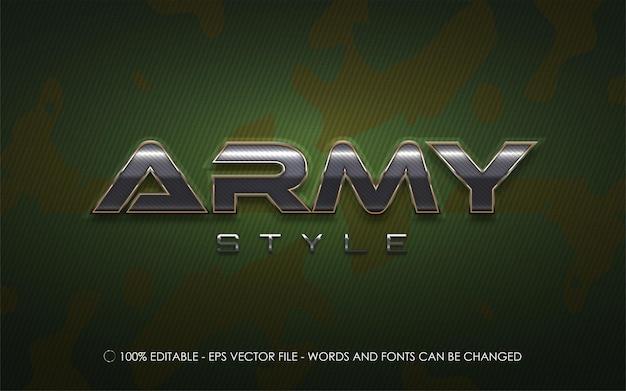 Edytowalny efekt tekstowy, ilustracje w stylu armii