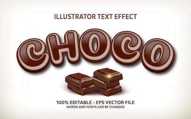 Edytowalny efekt tekstowy, ilustracje w stylu choco