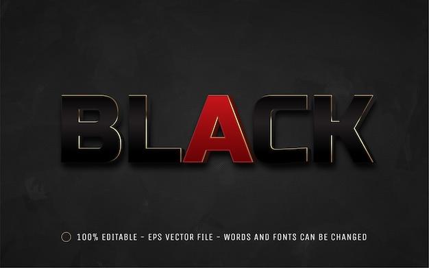 Edytowalny efekt tekstowy, ilustracje w stylu czarnym