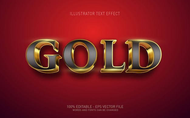 Edytowalny efekt tekstowy, ilustracje w stylu gold 3d