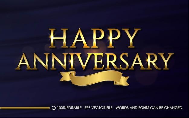 Edytowalny efekt tekstowy, ilustracje w stylu happy anniversary