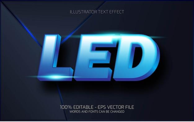 Edytowalny efekt tekstowy, ilustracje w stylu led