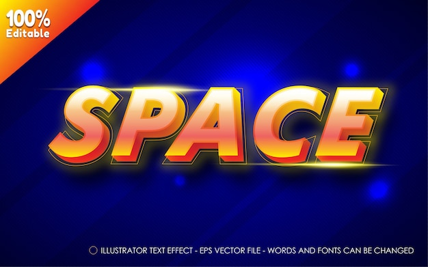 Edytowalny efekt tekstowy, ilustracje w stylu przestrzeni