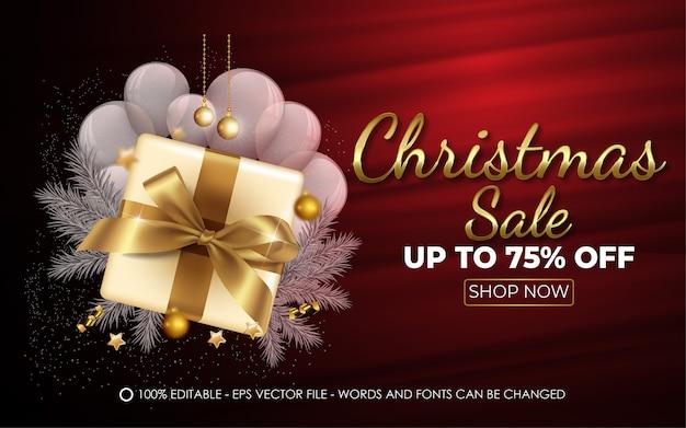 Edytowalny efekt tekstowy, ilustracje w stylu świątecznej sprzedaży