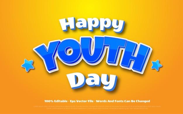 Edytowalny efekt tekstowy ilustracje w stylu szczęśliwego dnia młodzieży