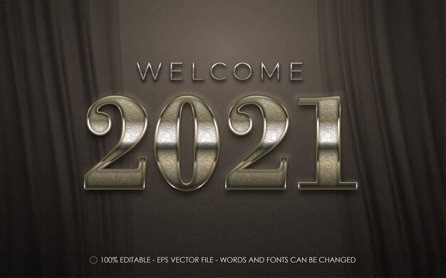 Edytowalny efekt tekstowy, ilustracje w stylu welcome new year