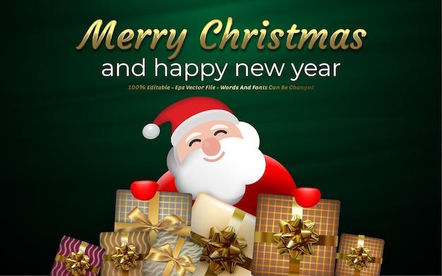 Edytowalny efekt tekstowy, ilustracje w stylu wesołych świąt i szczęśliwego nowego roku