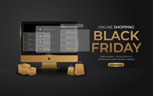 Edytowalny efekt tekstowy, ilustracje w stylu zakupów online w czarny piątek