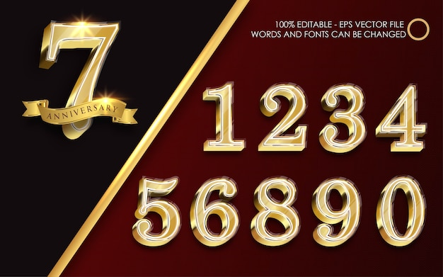 Edytowalny efekt tekstowy, ilustracje w stylu złotych liczb
