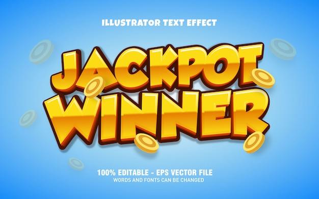 Edytowalny efekt tekstowy, ilustracje w stylu zwycięzcy jackpot