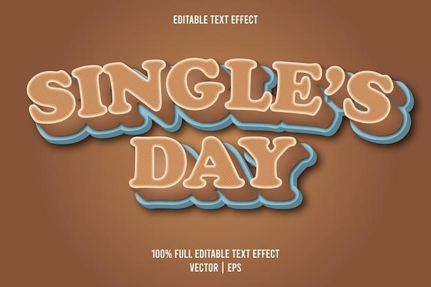 Edytowalny efekt tekstowy jednego dnia w stylu komiksowym w kolorze brązowym