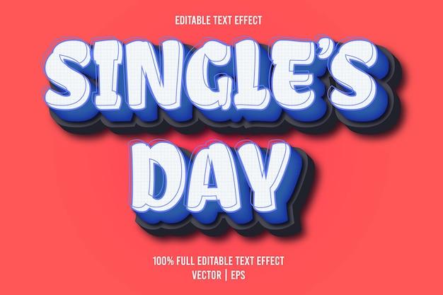 Edytowalny efekt tekstowy jednego dnia w stylu komiksowym w kolorze niebieskim
