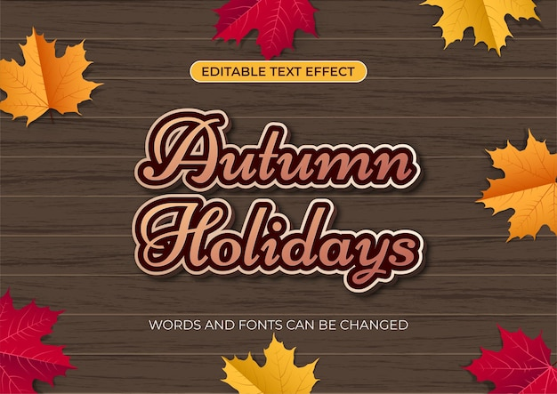 Edytowalny efekt tekstowy jesienne wakacje na tle stołu z drewna z liśćmi klonu
