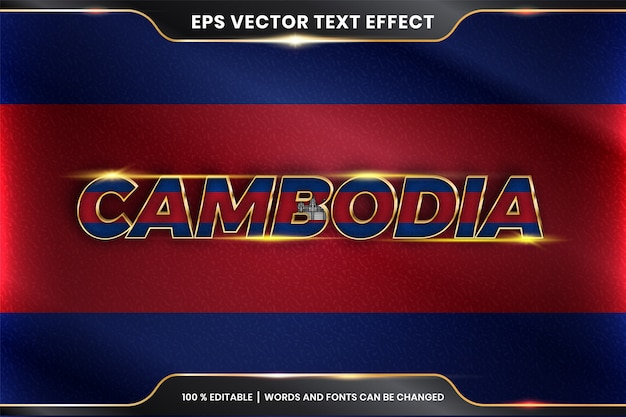 Edytowalny efekt tekstowy - kambodża z flagą narodową kraju