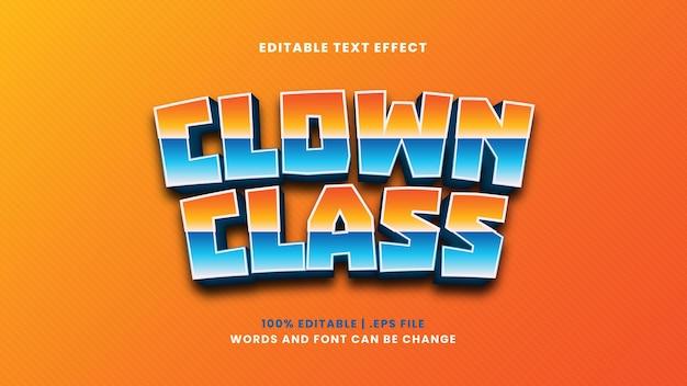 Edytowalny efekt tekstowy klasy klauna w nowoczesnym stylu 3d