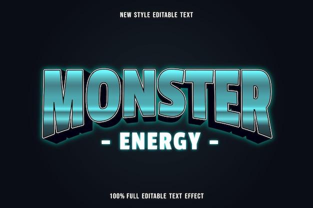 Edytowalny efekt tekstowy kolor energii potwora zielony biały i czarny