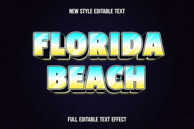 Edytowalny efekt tekstowy kolor plaży na florydzie niebieski biały i żółty