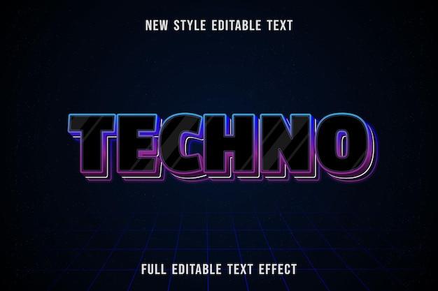 Edytowalny efekt tekstowy kolor techno czarny i niebieski fioletowy