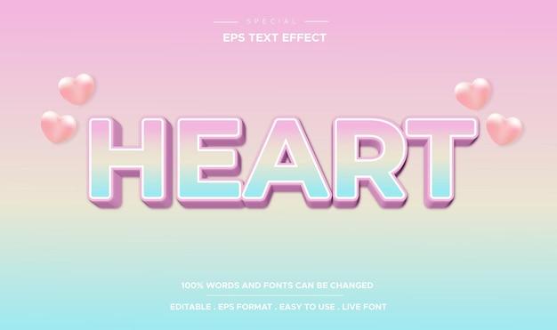 Edytowalny efekt tekstowy, kolorowy styl tekstu serca