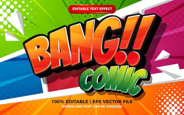 Edytowalny efekt tekstowy - komiksowa kreskówka na kolorowym tle komiksowym półtonów