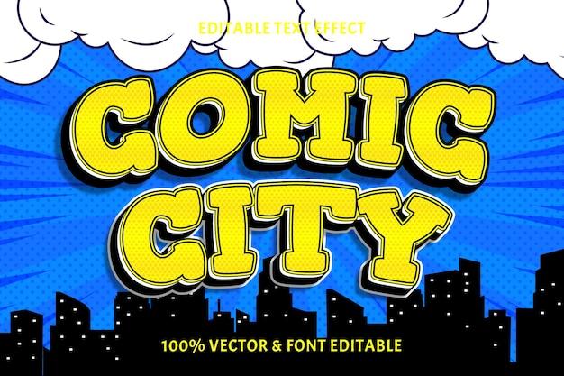 Edytowalny efekt tekstowy komiksowego miasta 3 wymiary wytłoczony styl komiksowy