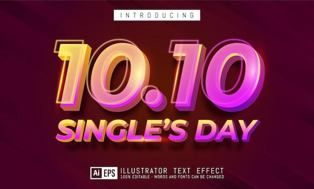 Edytowalny efekt tekstowy - koncepcja stylu tekstu dla jednego dnia 10.10