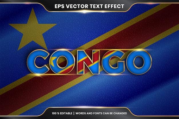 Edytowalny efekt tekstowy - kongo z flagą narodową kraju