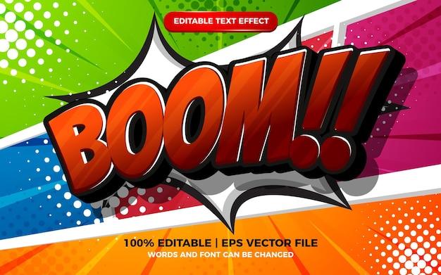 Edytowalny efekt tekstowy - kreskówka boom na kolorowym tle komiksowym półtonów