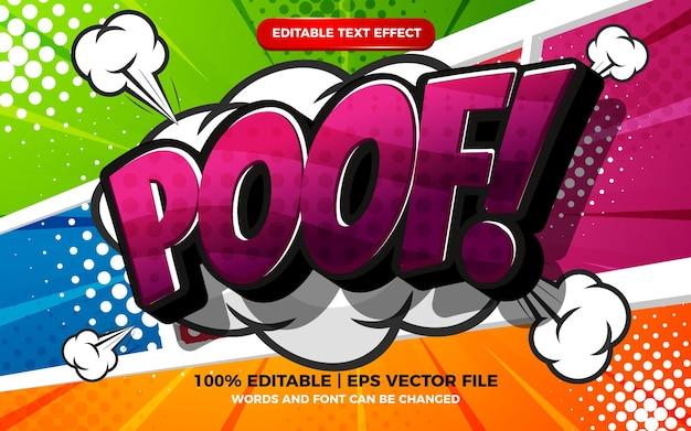 Edytowalny efekt tekstowy - kreskówka puf na kolorowym tle komiksowym półtonów