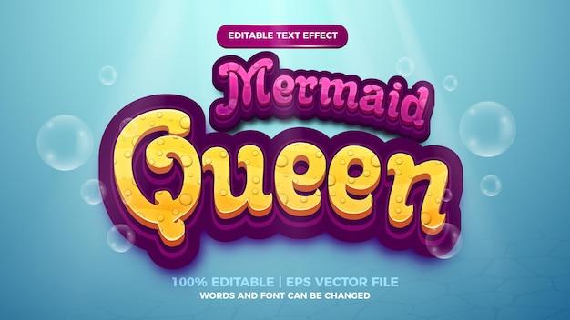Edytowalny efekt tekstowy - królowa syrenka ładny styl szablon 3d na tle głębinowych morza