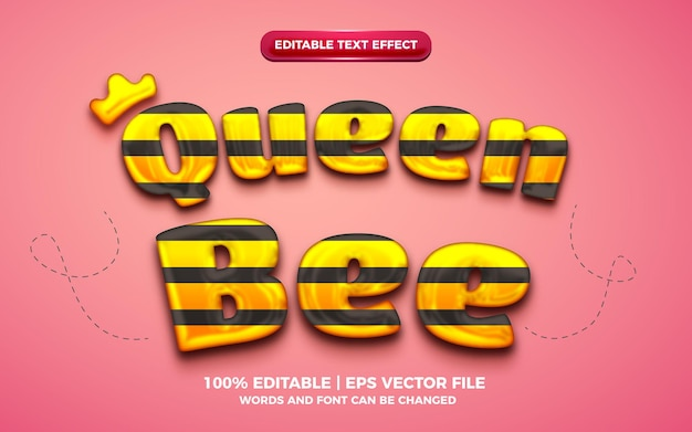 Edytowalny efekt tekstowy królowej pszczół 3d