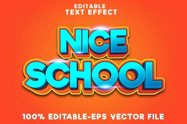 Edytowalny efekt tekstowy ładna szkoła z nowoczesnym stylem powrotu do szkoły