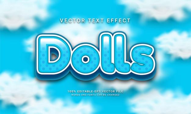 Edytowalny efekt tekstowy lalek z motywem koloru niebieskiego