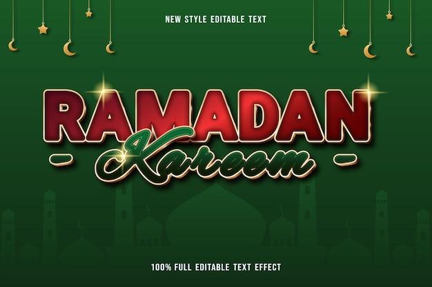 Edytowalny efekt tekstowy luksusowy ramadan kareem kolor czerwony i zielony