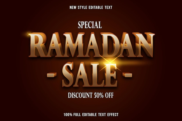Edytowalny efekt tekstowy luksusowy ramadan sprzedaż w kolorze złotym i brązowym