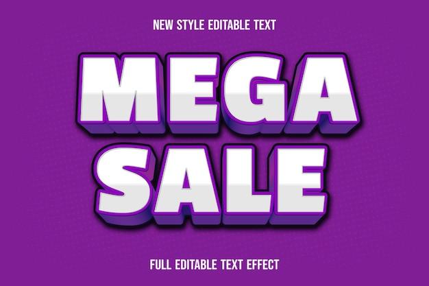 Edytowalny efekt tekstowy mega sprzedaż kolor biały fioletowy